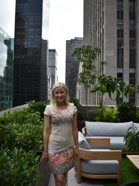 Kitty at Rockerfeller rooftop New York