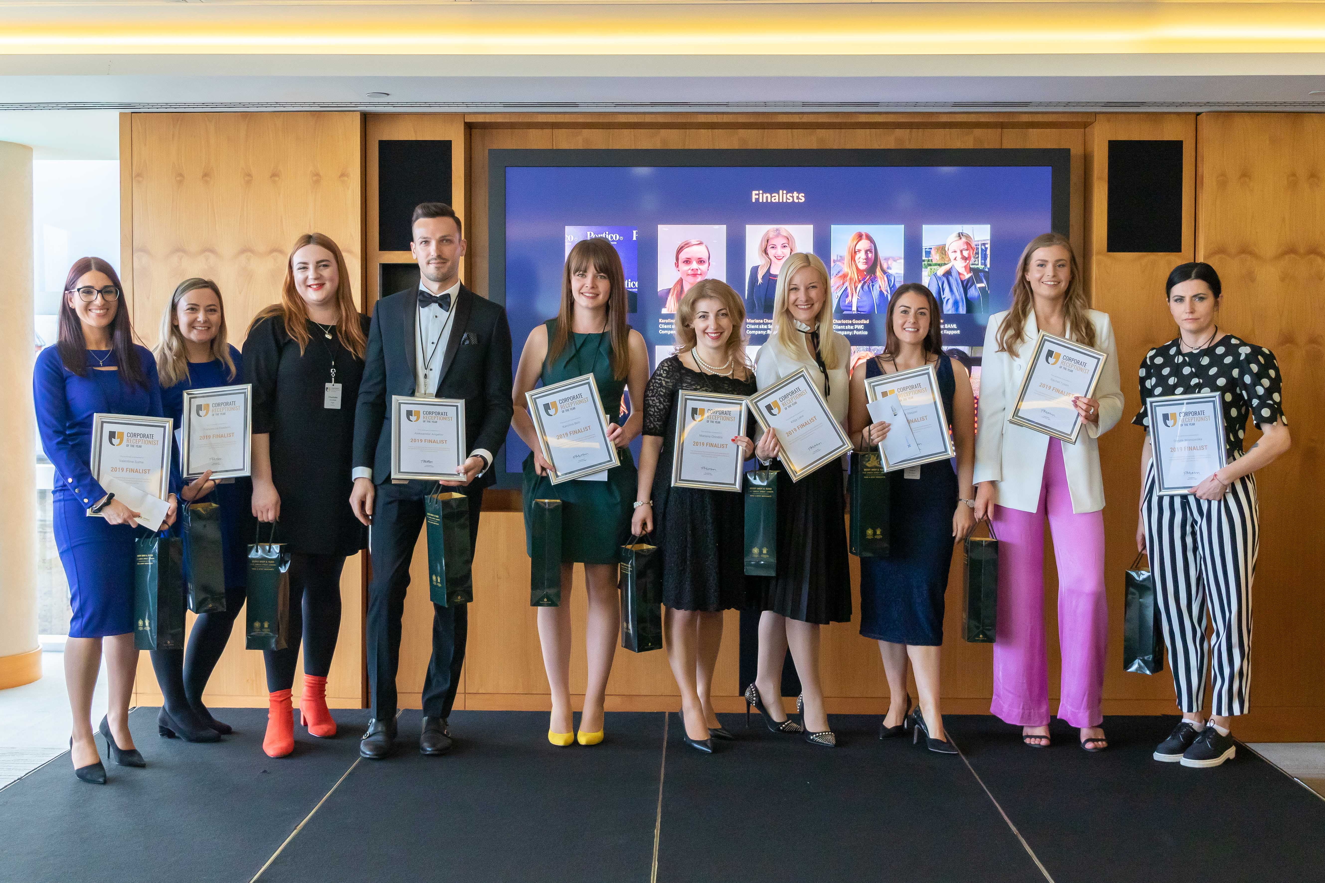 Receptionist of the year 2019 ten finalists in a row