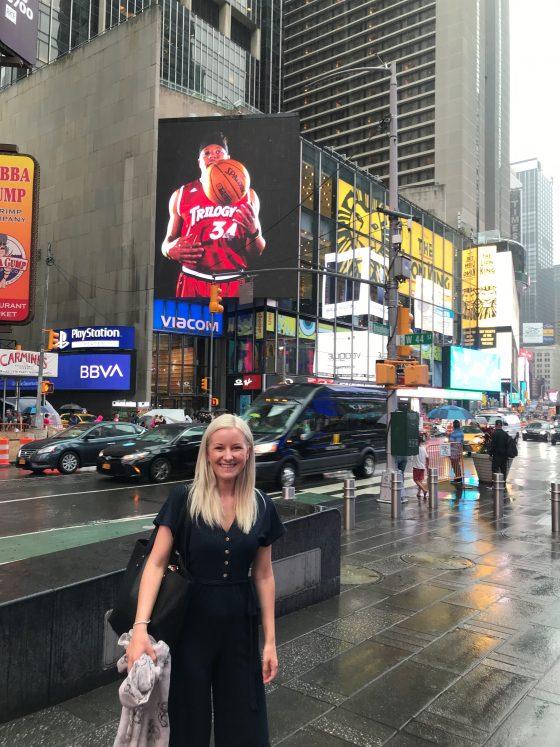 Kitija Lace in Times Square New York